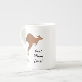 Cute kangaroo with baby in pouch bone china mug