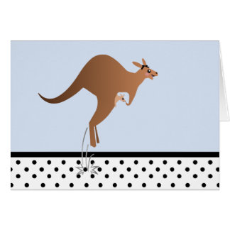 Cute kangaroo with baby in pouch greeting card
