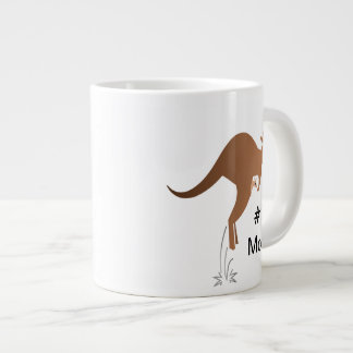 Cute kangaroo with baby in pouch jumbo mug