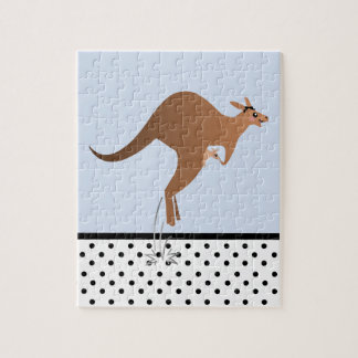 Cute kangaroo with baby in pouch puzzles
