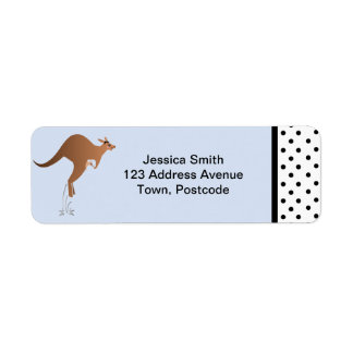 Cute kangaroo with baby in pouch return address label