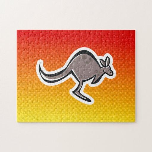 Cute Kangaroo; Yellow Orange Jigsaw Puzzles