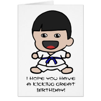 Cute Karate Birthday Card for Boys