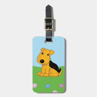 Cute Kawaii Airedale Puppy in Field Luggage Tag
