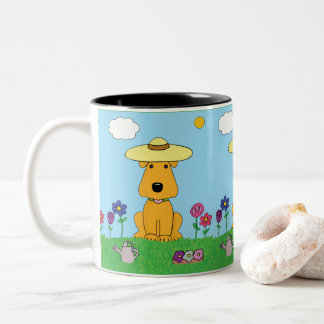 Cute Kawaii Airedale Terrier Dog in Garden Mug