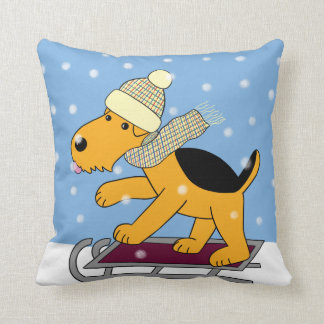 Cute Kawaii Airedale Terrier Dog on Sled Pillow