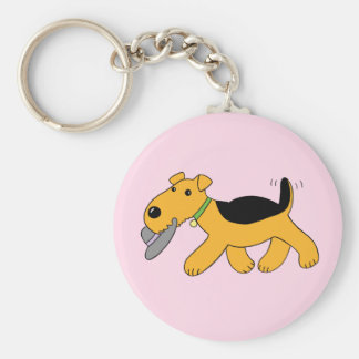 Cute Kawaii Airedale Terrier Dog w Hat Keychain