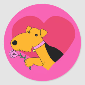 Cute Kawaii Airedale Terrier Dog W Rose Sticker