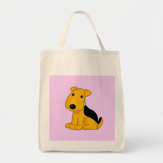 Cute Kawaii Airedale Terrier Happy Puppy Dog Tote! Tote Bag