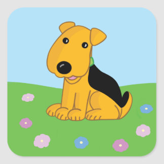 Cute Kawaii Airedale Terrier in Field Sticker