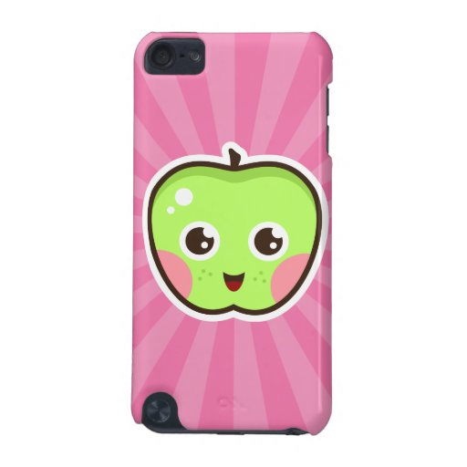 Cute kawaii apple on pink sunburst iPod touch case