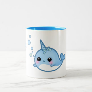 Cute kawaii baby narwhal Two-Tone coffee mug