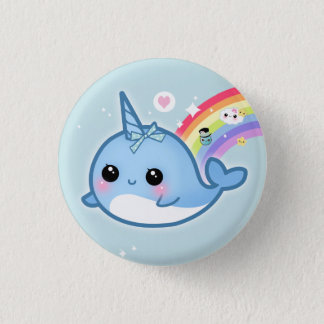 Cute kawaii baby narwhal with rainbow 3 cm round badge
