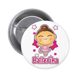 Cute Kawaii Ballerina doing ballet Pinback Button