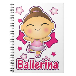 Cute Kawaii Ballerina doing ballet Spiral Notebooks