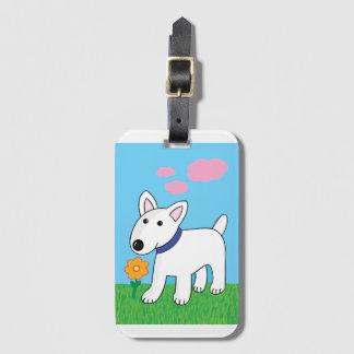 Cute Kawaii Bull Terrier w Flower Luggage Tag