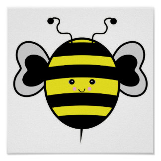 cute kawaii bumble bee posters