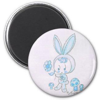 Cute kawaii bunny kid 6 cm round magnet