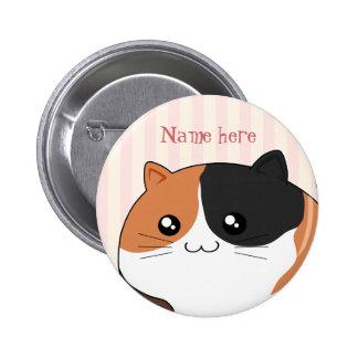 Cute Kawaii Calico kitty cat Button