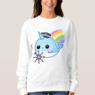 Cute kawaii captain narwhal with rainbow sweatshirt