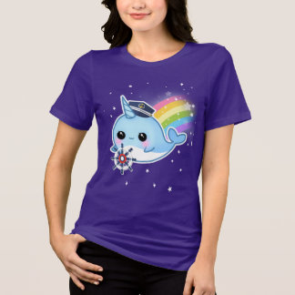 Cute kawaii captain narwhal with rainbow T-Shirt