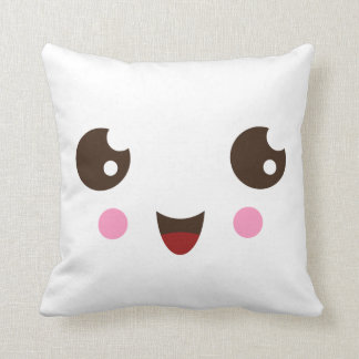 Cute kawaii cartoon face custom pillow