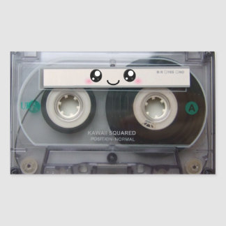Cute Kawaii Cassette Tape Rectangular Sticker