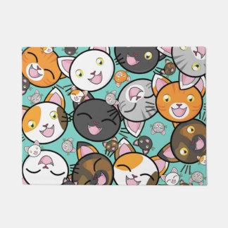 Cute Kawaii Cats Door Mat