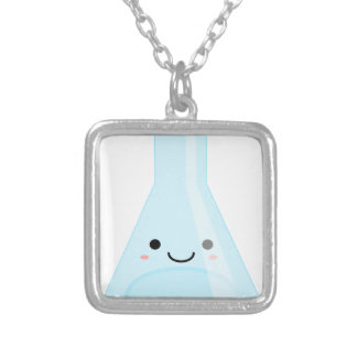 Cute Kawaii Chemistry Flask Silver Plated Necklace
