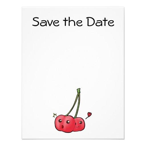 Cute kawaii cherries in love invitations