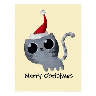 Cute Kawaii Christmas Cat Post Card