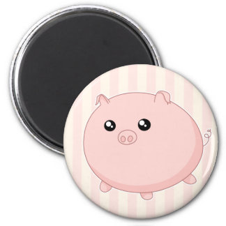 Cute Kawaii chubby pink pig 6 Cm Round Magnet