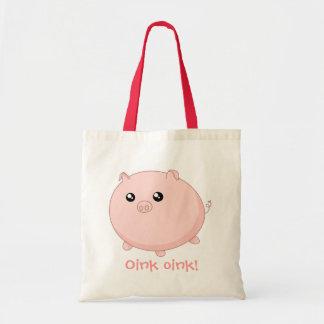 Cute Kawaii chubby pink pig Budget Tote Bag