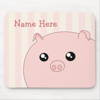 Cute Kawaii chubby pink pig Mouse Pads