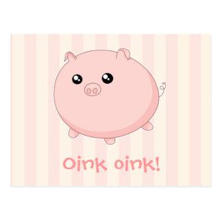 Cute Kawaii chubby pink pig Postcard