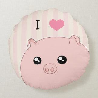 Cute Kawaii chubby pink pig Round Cushion