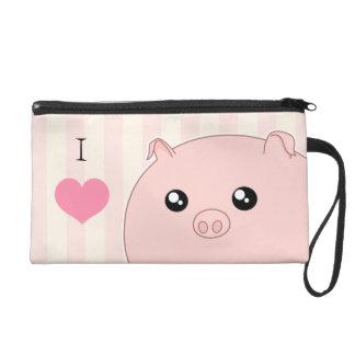 Cute Kawaii chubby pink pig Wristlet Purses
