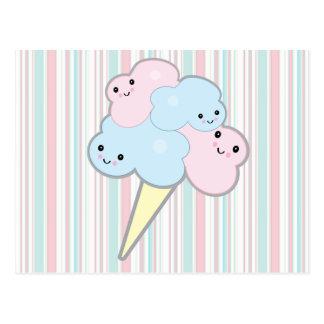 cute kawaii cotton candy postcard