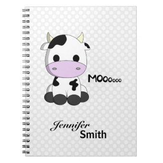 Cute kawaii cow cartoon customizable girls notebook