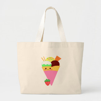 cute kawaii crape large tote bag
