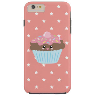 Cute Kawaii Cupcake Stars Pattern Pastel Peach Tough iPhone 6 Plus Case