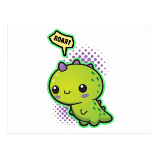 Cute Kawaii Dinosaur Postcard