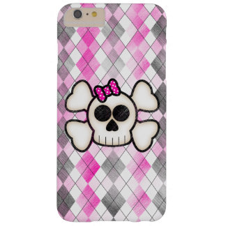 Cute Kawaii Emo Skull and Crossbones on Argyle Barely There iPhone 6 Plus Case