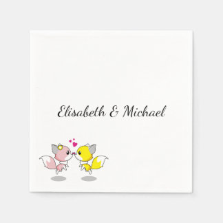 Cute kawaii foxes cartoon engagement or wedding paper napkin