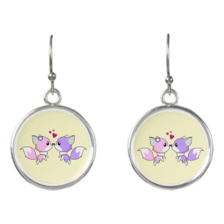 Cute kawaii foxes cartoon in pink purple girl earrings