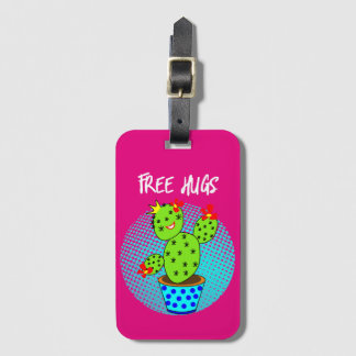 Cute Kawaii Free Hugs Smiling Cactus Plant Graphic Luggage Tag