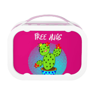 Cute Kawaii Free Hugs Smiling Cactus Plant Graphic Lunch Box