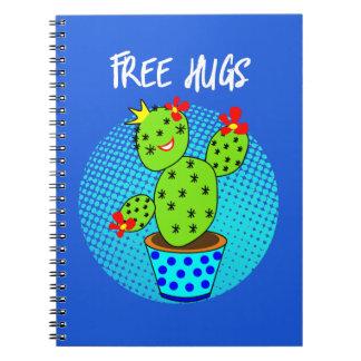 Cute Kawaii Free Hugs Smiling Cactus Plant Graphic Notebooks