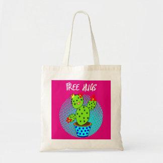 Cute Kawaii Free Hugs Smiling Cactus Plant Graphic Tote Bag