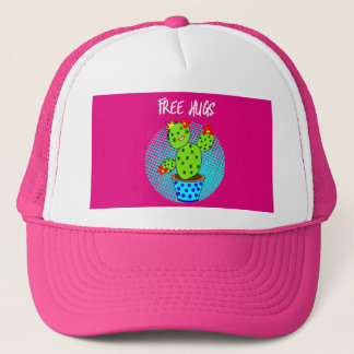 Cute Kawaii Free Hugs Smiling Cactus Plant Graphic Trucker Hat